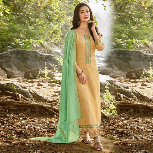 Gleaming Mustard Yellow Colored Partywear Embroidered Chanderi Cotton Suit