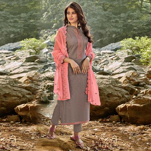 Mesmeric Grey Colored Partywear Embroidered Chanderi Cotton Suit