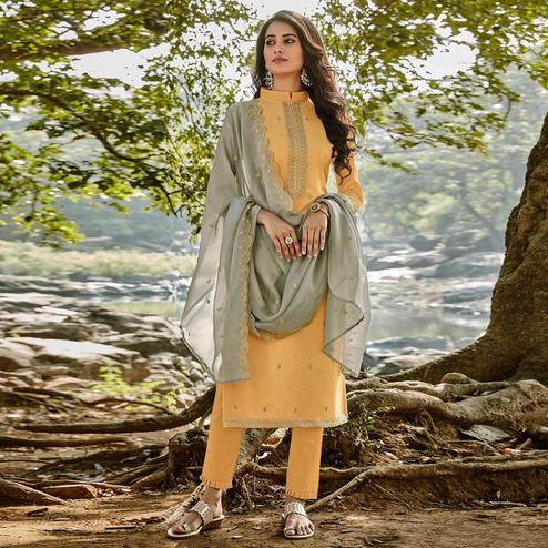 Unique Light Yellow Colored Partywear Embroidered Chanderi Cotton Suit