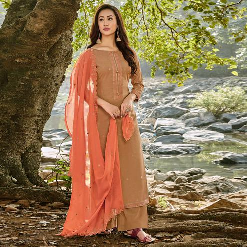 Demanding Light Brown Colored Partywear Embroidered Chanderi Cotton Suit