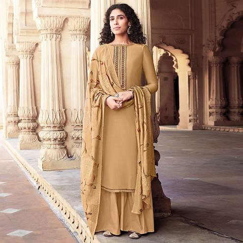Flattering Beige Colored Partywear Embroidered Cotton Silk Palazzo Suit