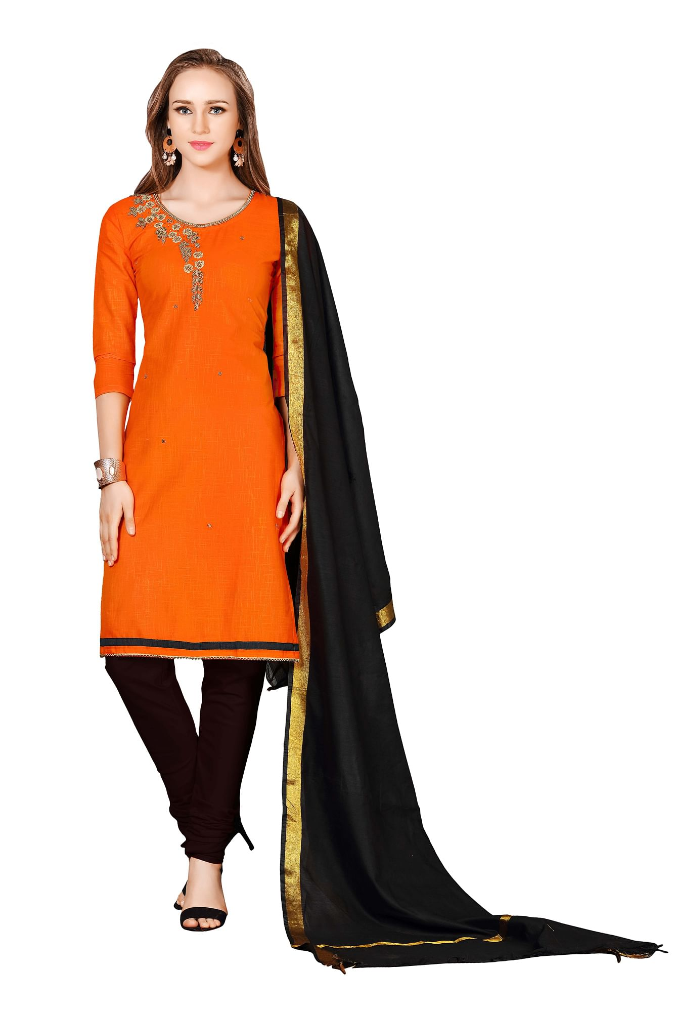 Charming Orange-Black Colored Embroidered Chanderi Cotton Dress Material