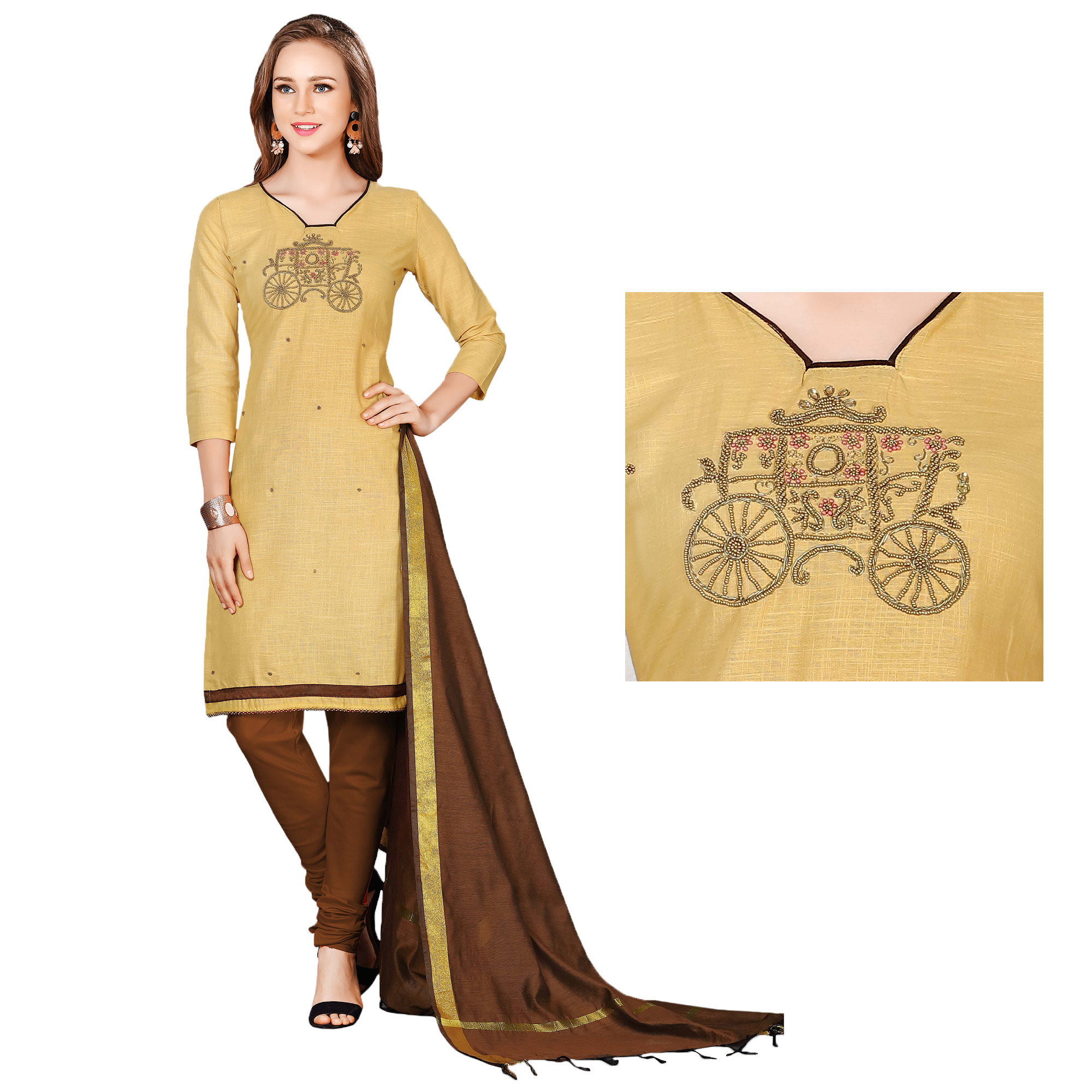 Ravishing Beige-Brown Colored Embroidered Chanderi Cotton Dress Material