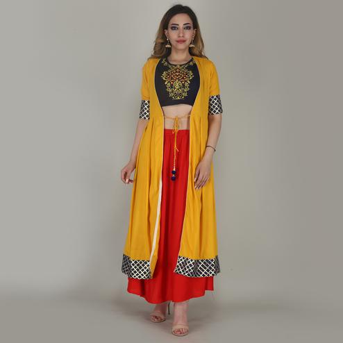 Fashioncutz - Yellow & Red Colored Partywear Rayon Top Skirt Set With Shrug