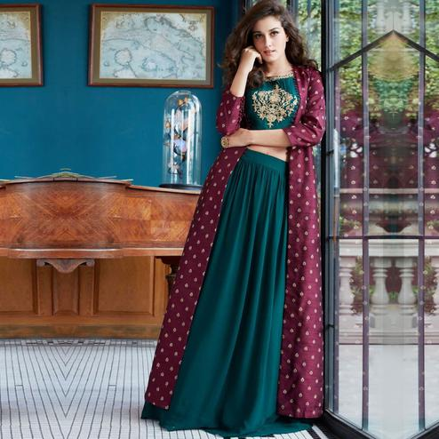Fashioncutz - Wine & Green Colored Partywear Rayon Top Skirt Set With Shrug