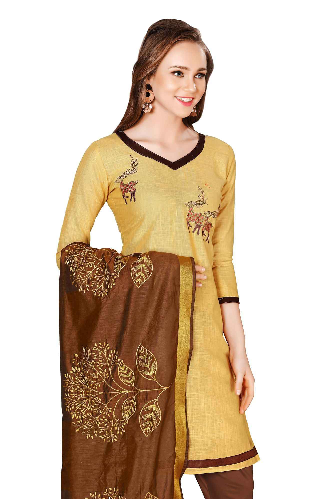 Classy Beige-Brown Colored Embroidered Chanderi Cotton Dress Material