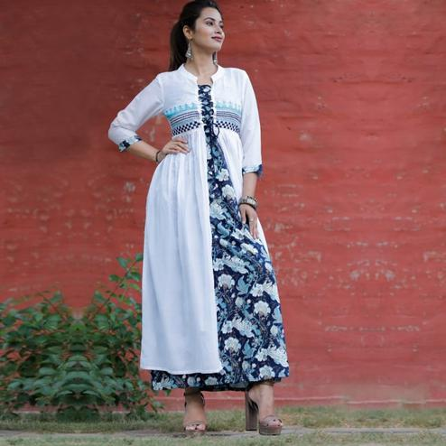 Fashioncutz - White & Blue Colored Casual Rayon Kurti Shrug Set