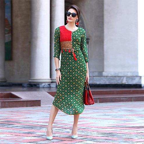 Gorgeous Green Partwear Printed Georgette Kurti