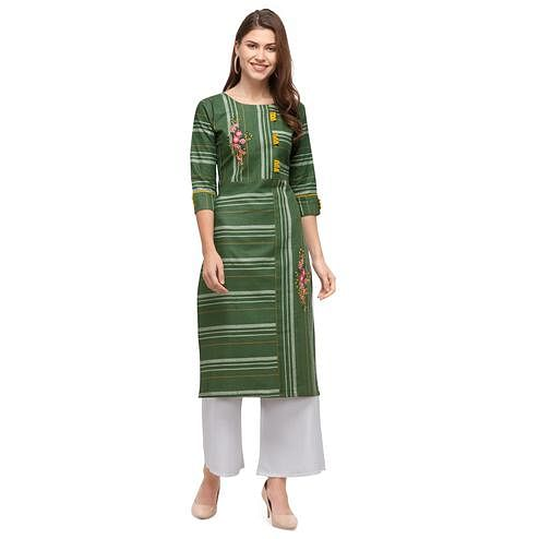 Dazzling Green Colored Casual Wear Embroidered Cotton Kurti With Palazzo