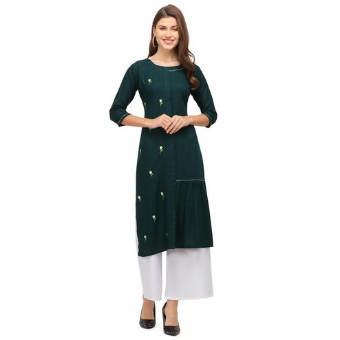 Intricate Green Colored Casual Wear Embroidered Rayon Kurti With Palazzo