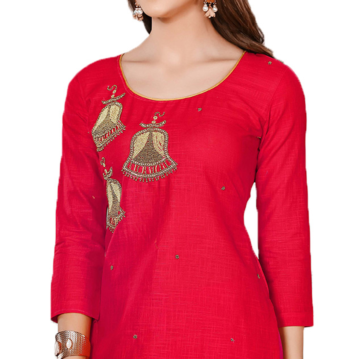 Beautiful Red-Beige Colored Embroidered Chanderi Cotton Dress Material