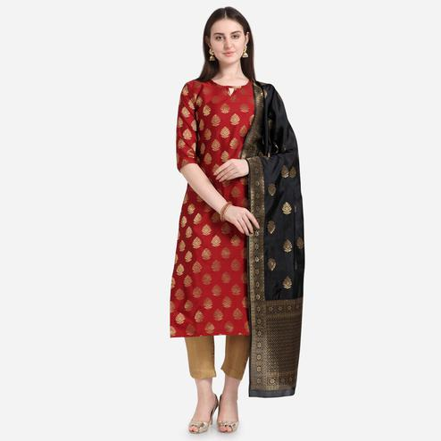 Exceptional Red Colored Festive Wear Woven Pure Jari Cotton Jacquard Dress Material