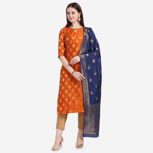 Gleaming Orange Colored Festive Wear Woven Pure Jari Cotton Jacquard Dress Material