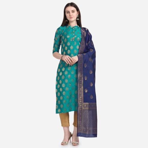Mesmeric Green Colored Festive Wear Woven Pure Jari Cotton Jacquard Dress Material