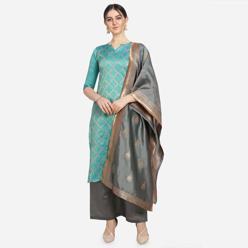 Unique Light Blue Colored Festive Wear Woven Pure Jari Cotton Jacquard Dress Material