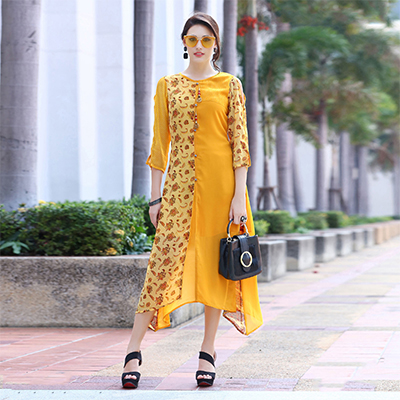 Ravishing Yellow Partwear Printed Georgette Kurti