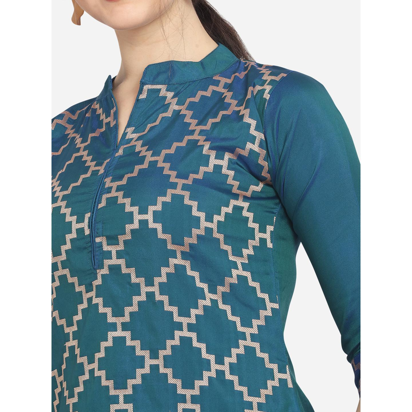 Refreshing Teal Blue Colored Festive Wear Woven Pure Jari Cotton Jacquard Dress Material