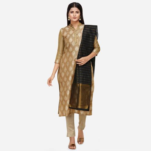 Flattering Beige Colored Festive Wear Woven Jacquard Cotton Dress Material