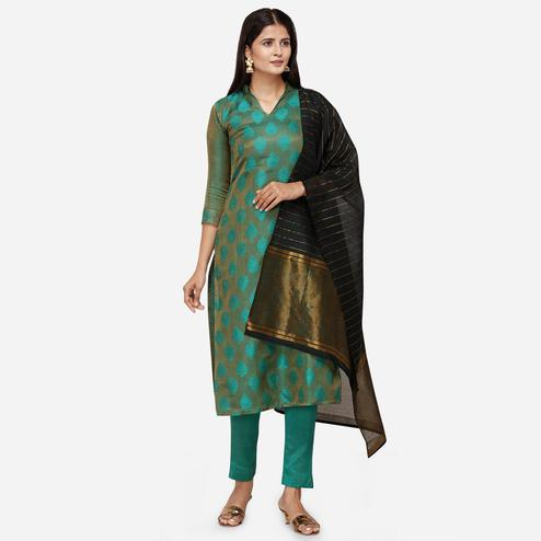 Preferable Dark Green Colored Festive Wear Woven Jacquard Cotton Dress Material