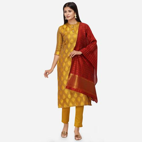 Marvellous Mustard Colored Festive Wear Woven Jacquard Cotton Dress Material