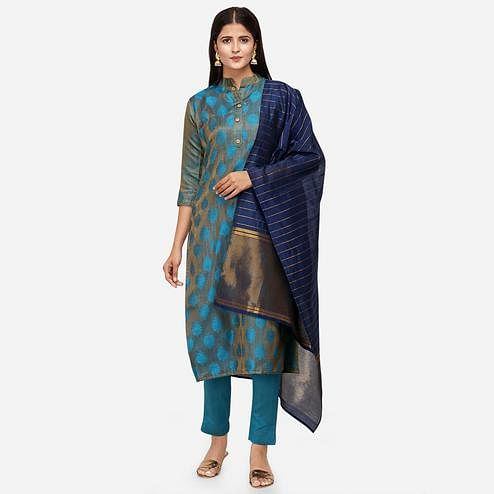 Flamboyant Blue Colored Festive Wear Woven Jacquard Cotton Dress Material
