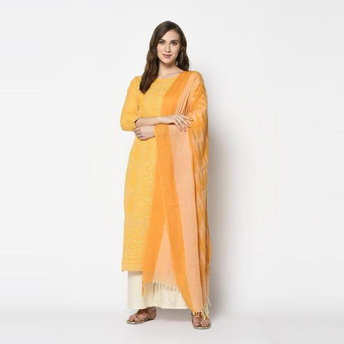 Pretty Yellow Colored Casual Wear Khadi Printed Pure Cotton Dress Material