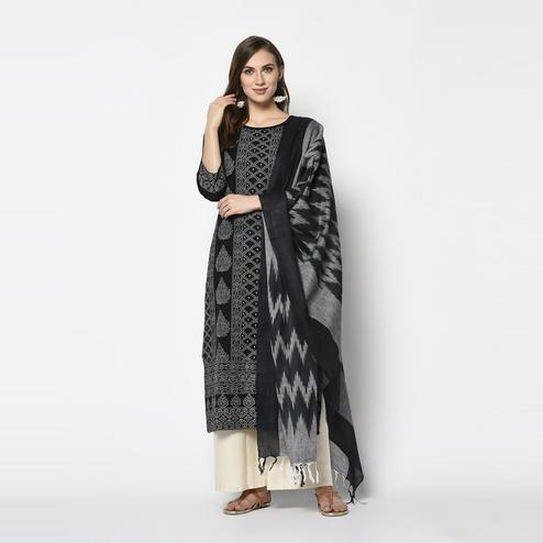 Alluring Black Colored Casual Wear Khadi Printed Pure Cotton Dress Material