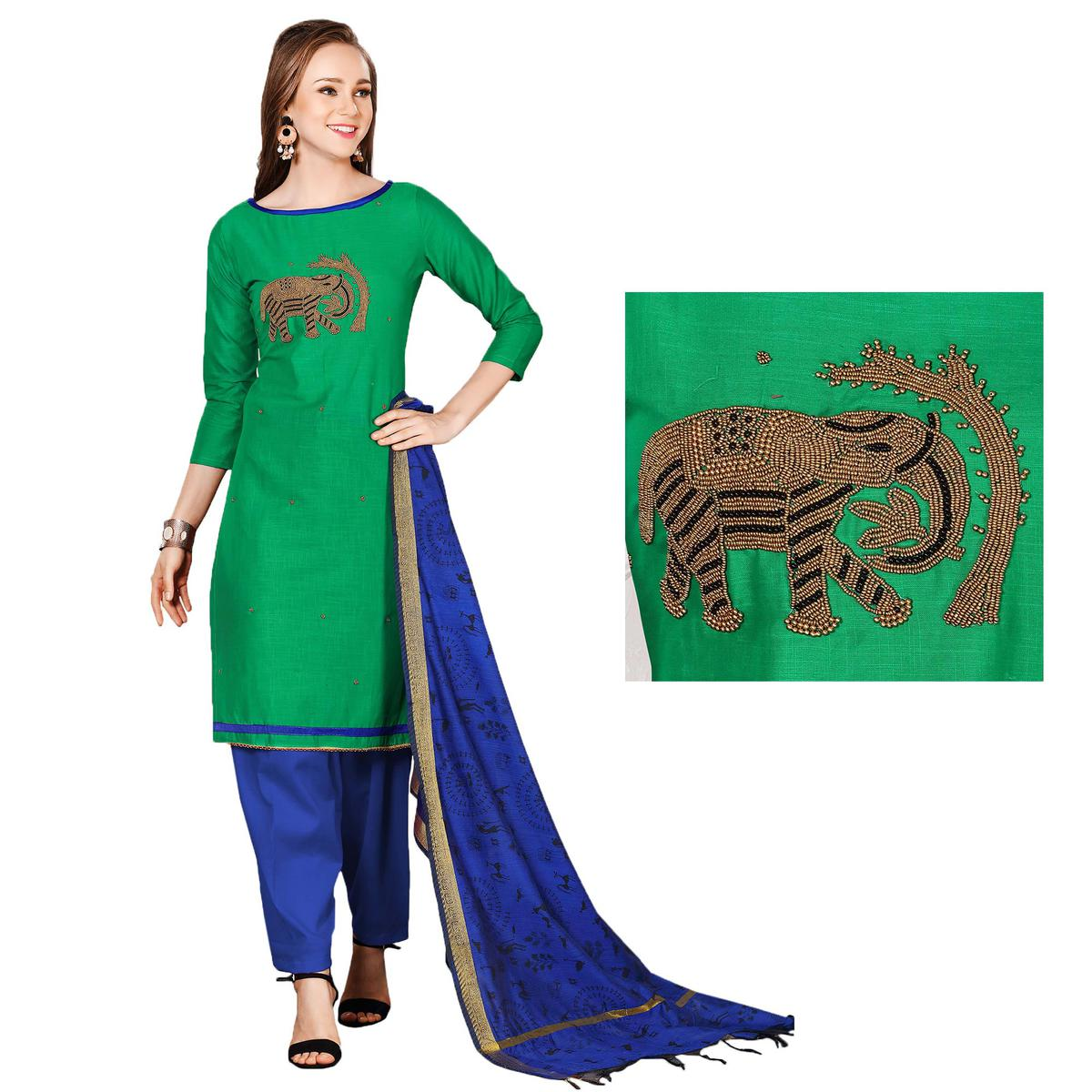 Graceful Green-Blue Colored Embroidered Chanderi Cotton Dress Material