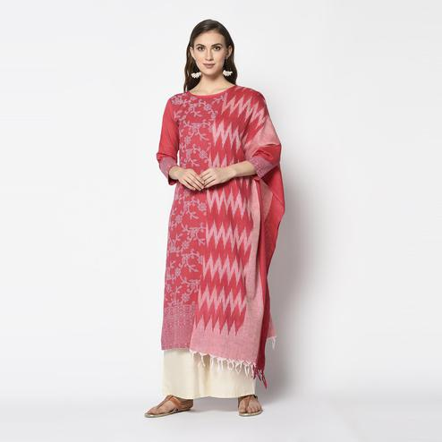 Sensational Red Colored Casual Wear Khadi Printed Pure Cotton Dress Material