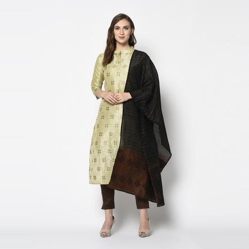 Appealing Pastel Green Colored Festive Wear Woven Jacquard Cotton Dress Material