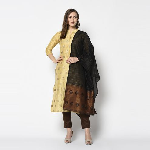 Capricious Yellow Colored Festive Wear Woven Jacquard Cotton Dress Material