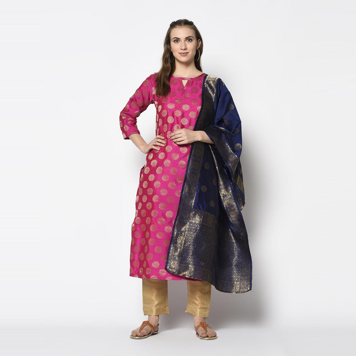 Groovy Pink Colored Festive Wear Woven Jacquard Cotton Dress Material