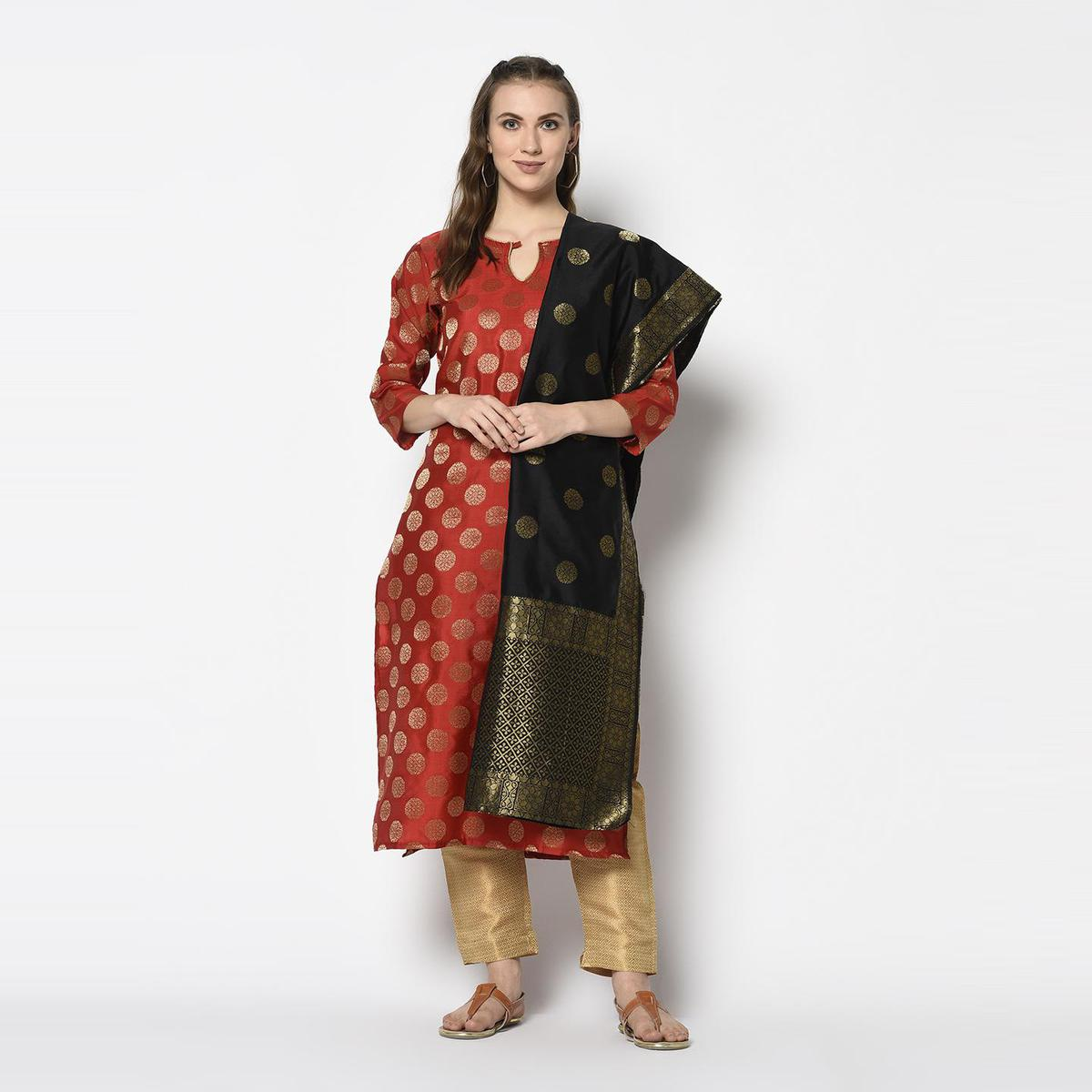 Exclusive Red Colored Festive Wear Woven Jacquard Cotton Dress Material