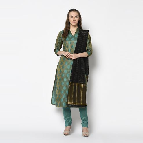 Glorious Green Colored Festive Wear Woven Jacquard Cotton Dress Material