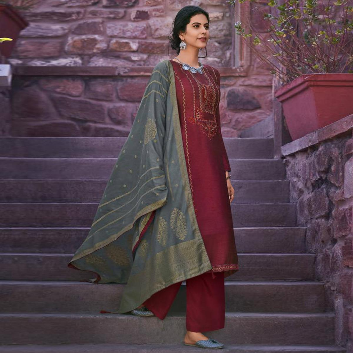 Ethnic Maroon Colored Partywear Embroidered Mulberry Silk Palazzo Suit