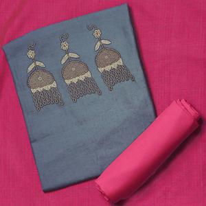 Elegant Gray-Pink Colored Embroidered Chanderi Cotton Dress Material