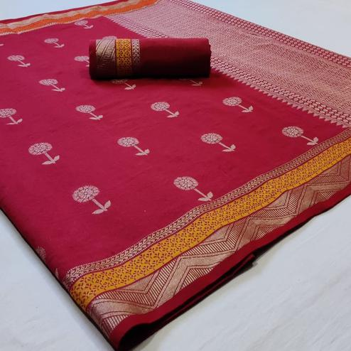 Charming Red Colored Festive Wear Woven Linen Cotton Saree
