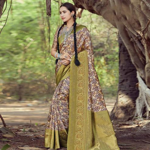 Delightful Beige Colored Festive Wear Digital Printed Silk Saree
