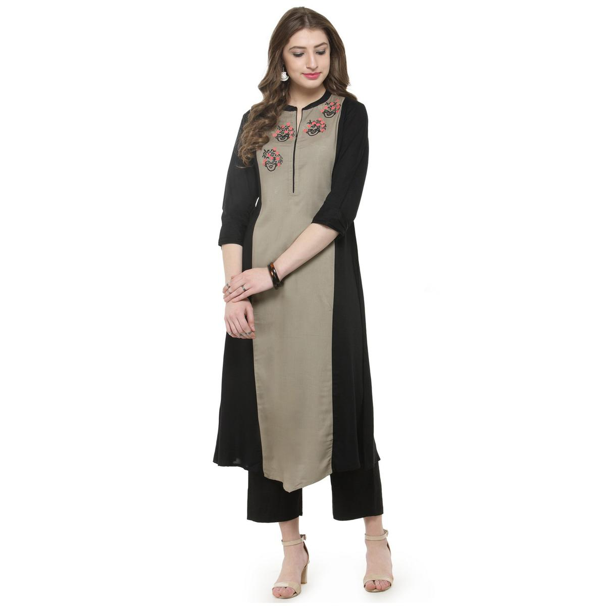 Black-Beige Colored Printed Rayon Kurti