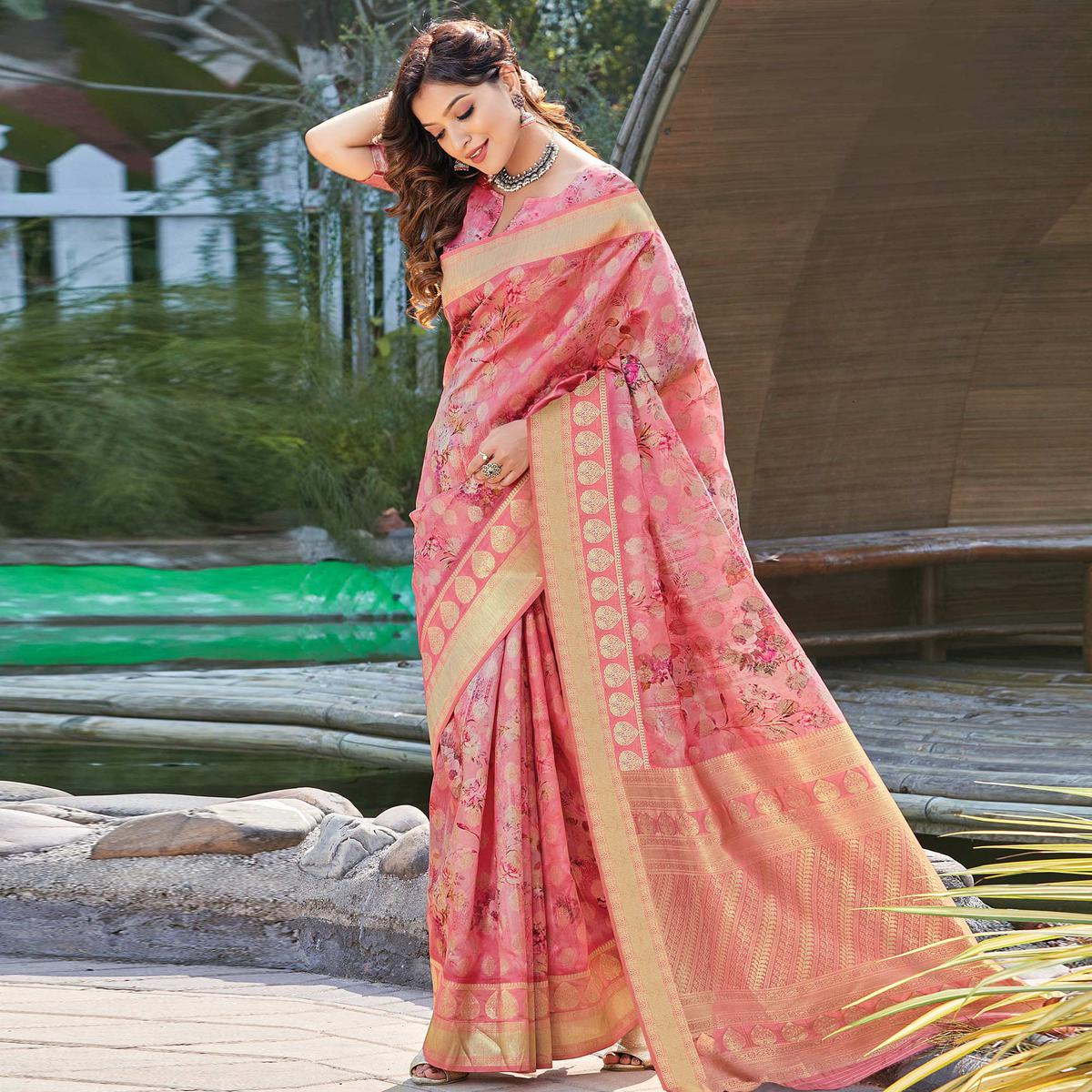 Lovely Pink Colored Festive Wear Digital Printed Silk Saree