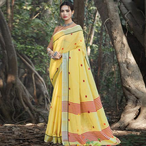 Majesty Yellow Colored Festive Wear Printed Linen Saree