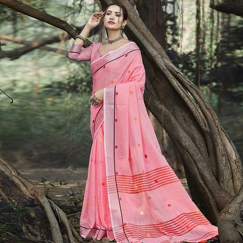 Impressive Pink Colored Festive Wear Printed Linen Saree