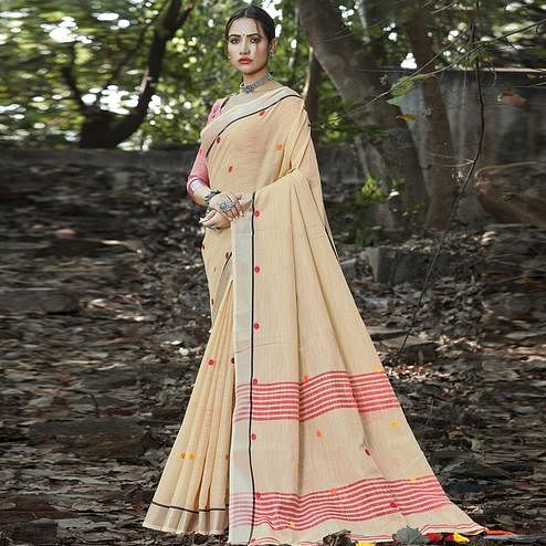 Mesmerising Beige Colored Festive Wear Printed Linen Saree