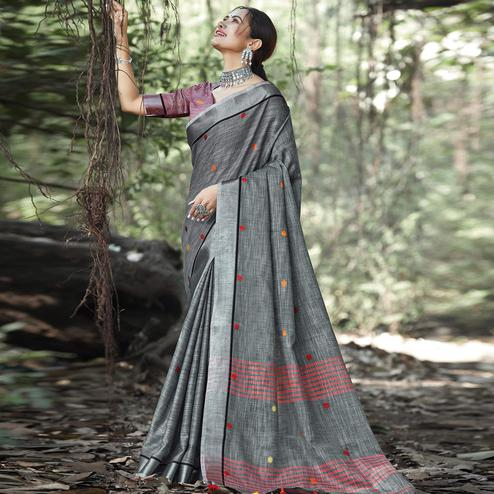 Pleasance Dark Grey Colored Festive Wear Printed Linen Saree