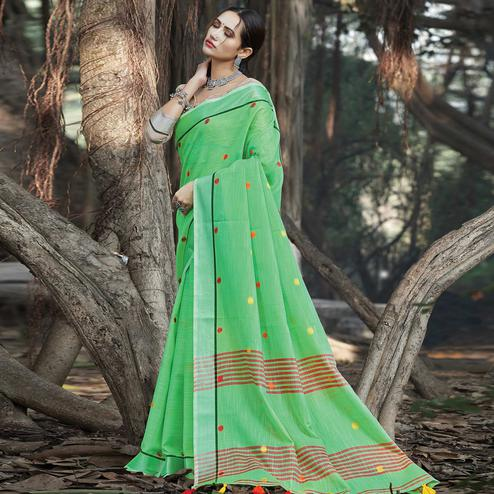 Breathtaking Green Colored Festive Wear Printed Linen Saree