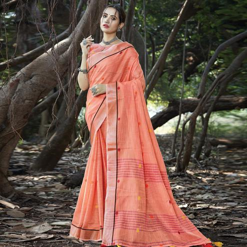 Ethnic Peach Colored Festive Wear Printed Linen Saree