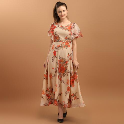 Fantastic Cream Colored Casual Wear Floral Printed Chiffon Western Dress
