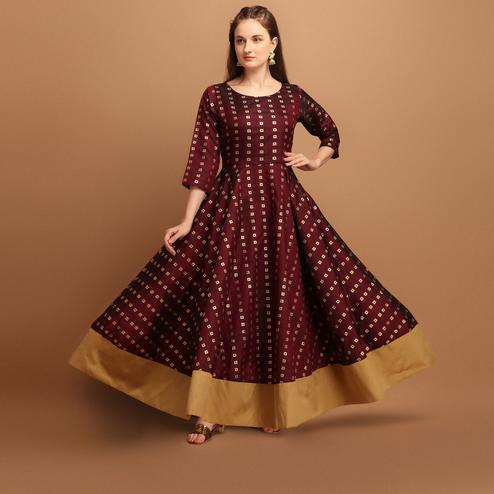 Gorgeous Maroon Colored Partywear Woven Poly Silk Gown