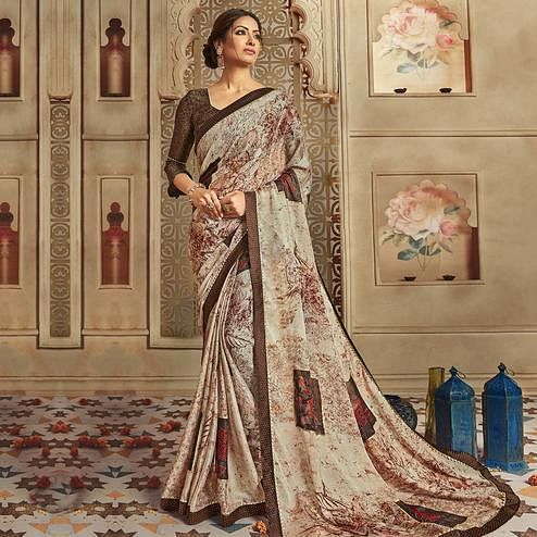 Triveni - Brown Color Chiffon Casual Wear Saree With Blouse Piece