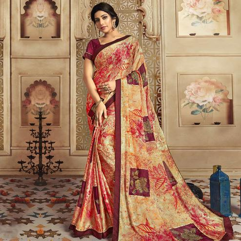 Triveni - Dark Pink Color Chiffon Casual Wear Saree With Blouse Piece